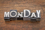 Monday word in metal type